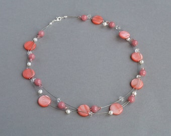 Coral Pink Necklace - Coral Bridesmaids Jewellery - Salmon Pink Bridal Party Gifts - Wedding Accessories - Coral Floating Pearl Necklace