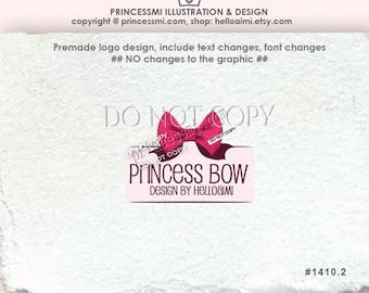 Premade Logo Design Custom logo / BOW logo / Pink Ribbon logo/ boutique logo bakery logo by princessmi logo 1410-2
