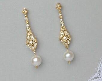 Gold Bridal Earrings, Pearl Drop Earrings Gold, Gold Crystal Earrings,  Dangle Earrings, Vintage Wedding Jewelry, VIOLET G