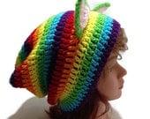 Rainbow Cat Hat, Bright Rainbow Hat, Kitty Ears Beanie, Cat Ears Beanie, Kawaii Cat Hat, Cosplay Cat Hat, Hat with Cat Ears, Animal Hat