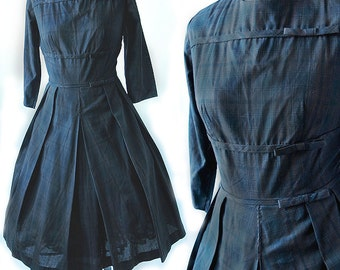 50's Brown Plaid Cotton Dress Donna Petite for Nelly Don Rockabilly Full Skirt Swing Dress Size Small