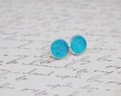 Aqua Druzy Studs, Iridescent Blue Stud Earrings, 12mm Druzy Stud Earrings, Druzy Stud Earrings, Druzy Earrings, Faux Druzy Studs, Faux Plugs