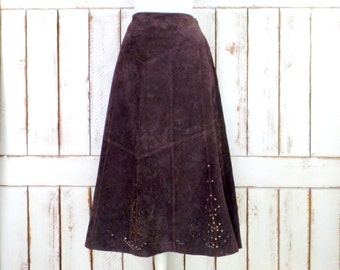 Vintage dark brown suede leather aline western maxi skirt/long studded suede skirt/cut out boho skirt/large/xlarge