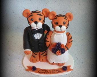 Wedding Cake Topper, Tiger, Tiger Wedding Cake Topper, Polymer Clay, Custom, Wedding/Anniversary Keepsake