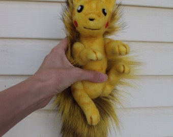 pokemon Pikachu inspired soft sculpture plush one of a kind tail critter