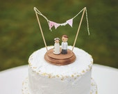 Rustic Wedding Cake Topper -  wedding cake topper - bride and groom cake topper - country rustic cake topper - personalized cake topper