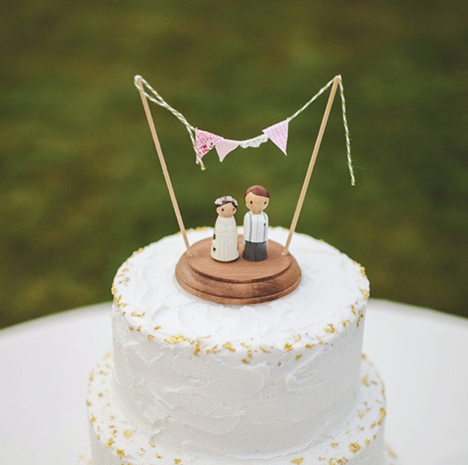 Bride Wedding Cake Topper: Rustic Wedding Cake Topper Custom Peg People By LovebirdsGoods