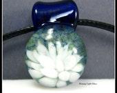 Watercolor Floral - Boro Glass Pendant - Glass Implosion Necklace - Small Round Borosilicate Glass Pendant