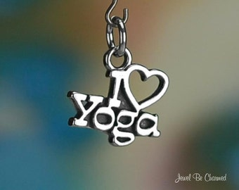 Sterling Silver I Love Yoga Charm Heart for Yoga Lovers Solid .925
