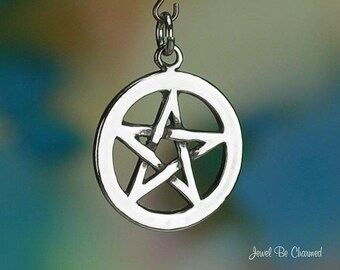 Pentagram Charm Sterling Silver Pentacle Magic Amulet Symbol .925