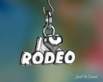 Sterling Silver I Love Rodeo Charm Western Cowboy Cowgirl Solid .925