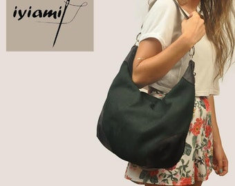 Handmade  crossbody, hobo bag, shoulder bag,everyday bag, deep green canvas with leather accents, called Marianthi