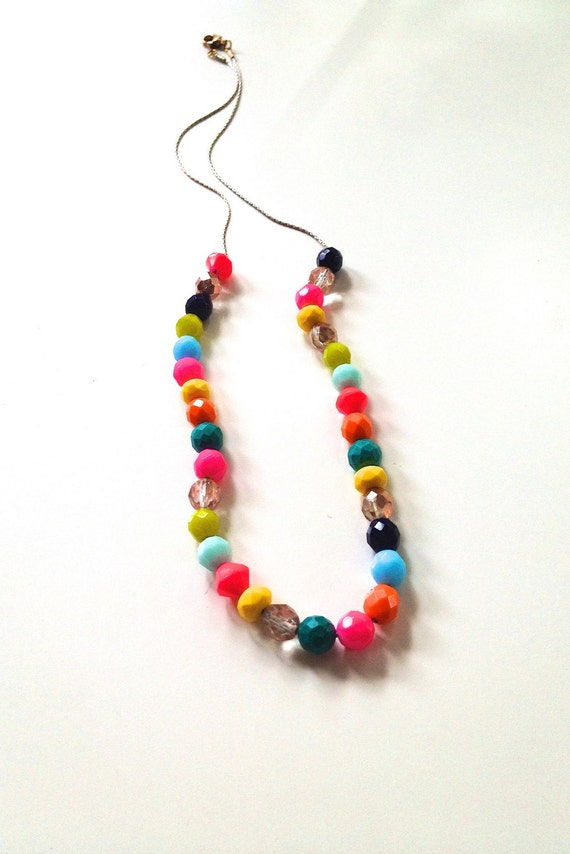 Gorgeous neon bright Czech glass beaded necklace. A fun, colorful statement necklace that is still simple and elegant. Add a touch of color.