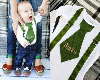 Baby Boy Outfit Tie and Suspenders Personalized Bodysuit w Any Name. Olive Green Herringbone Tan Lettering Baby's 1st Birthday