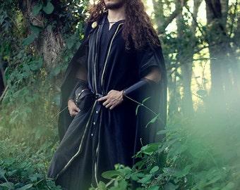 Men velvet coat ranger tunic forest costume grey and gold handfasting