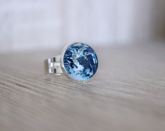 Planet Earth Ring, Adjustable Ring, Space Jewelry,Galaxy Ring