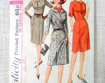 Vintage Pattern Simplicity 6195 dress sewing Fitted Bodice pencil pleat skirt vestee 1960s career Bust 38 three quarter sleeve