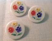 """Three Vintage 7/8""""  Molded Glass Buttons with Painted Flowers and Self Shank"""