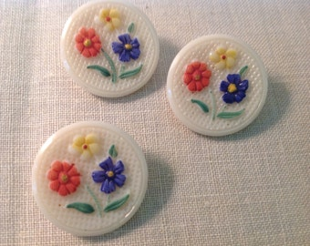 "Three Vintage 7/8""  Molded Glass Buttons with Painted Flowers and Self Shank"