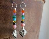 gemstone earrings. CELEBRATION. natural stone earrings. multi colored earrings. western earrings. orange purple green blue yellow black pink