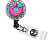 Pink Jelly Doughnut Silver Identification Badge Reel ID Tag Holder