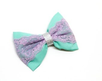 Mint Green and Lavender Lace with Silver Fabric Hair Bow Clip-SALE