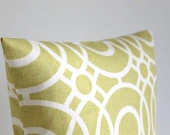 18x18 Pillow Cover, 18x18 Cushion Cover, 18 Inch Pillow Sham, Pillowcase, Pillow Covers, Throw Pillow, Pillowcase - Trellis Circles Citrus