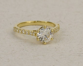 Moissanite Engagement Ring - 8mm 2 carat Charles and Colvard Forever Brilliant round moissanite. 14k, 18k Solid Gold in Yellow, White, Rose