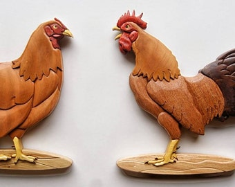 Rooster & Hen Intarsia Wall Hanging