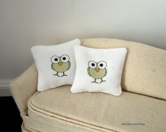 Playful owl modern pillows - set of two - dollhouse miniature