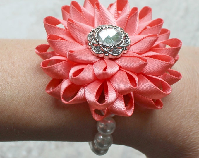 Wrist Corsage, Flower Wrist Corsage, Coral Flower Corsage, Prom Corsage, Wedding Corsages, Bridesmaid Corsages, Mother of Bride, Homecoming