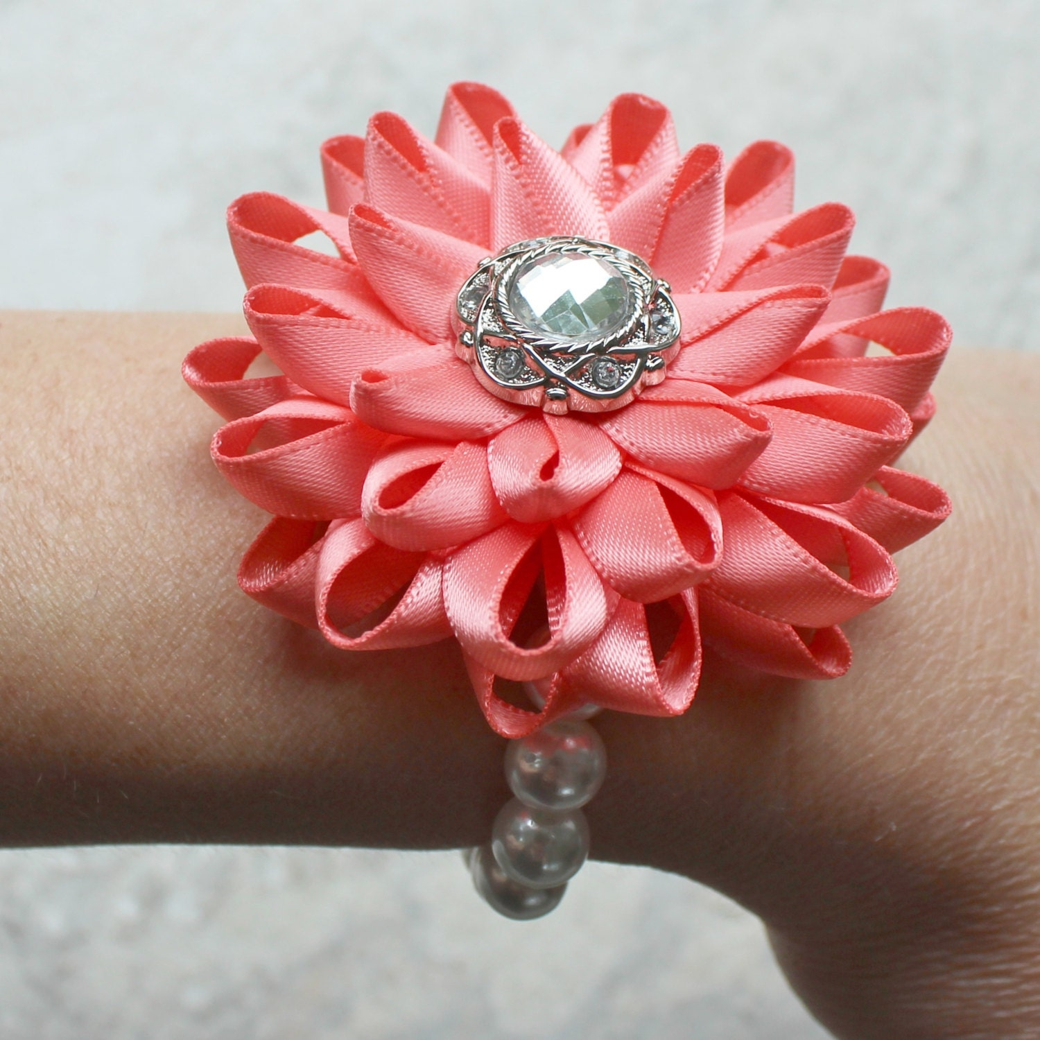 Wrist Corsage: Wrist Corsage Flower Wrist Corsage Coral Flower Corsage