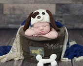 puppy hat and bone.. newborn hat...knit hat... photo prop..photograpy prop..Newborn photo prop...20% off with code VALEN1 at checkout