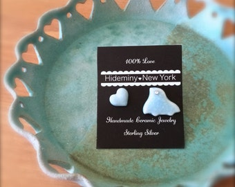 UFO Bird with Heart Stud Earrings-Pilopilo pilopilo-Handmade Ceramic Porcelain Stud Earrings,Handcrafted Everyday Earrings, Wonderful Gift