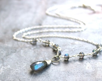 Labradorite Necklace Sterling Silver, Wire Wrapped linked gray gemstone necklace