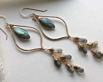 Labradorite Hoop Earrings, Gold Marquise Hoops, Long Labradorite Dangle Earrings, Labradorite Chandelier Hoops:  Ready to Ship