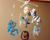 Customize Baby Mobile - Blue Monkey, Zebra and his Friends Theme Nursery Crib Mobile - Grey elephant nursery hanging mobile