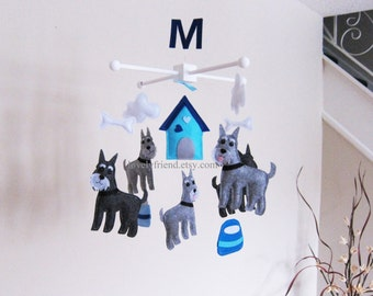 Customize Baby Mobile - Grey schnauzer Theme Nursery Crib Mobile - Cute Dog Ceiling Hanging Mobile - Baby Neutral Dog Mobile