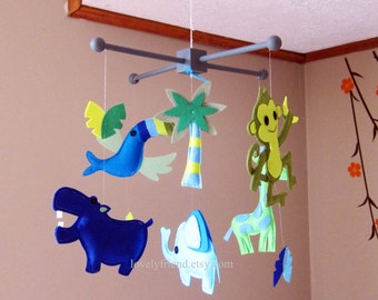 Customize Baby Mobile - Blue tropical bird Theme Nursery Crib Mobile - Palm Tree Felt Hanging Mobile  (Choose your color)