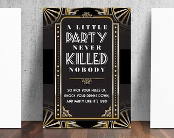 1920's Prohibition Style Party Sign