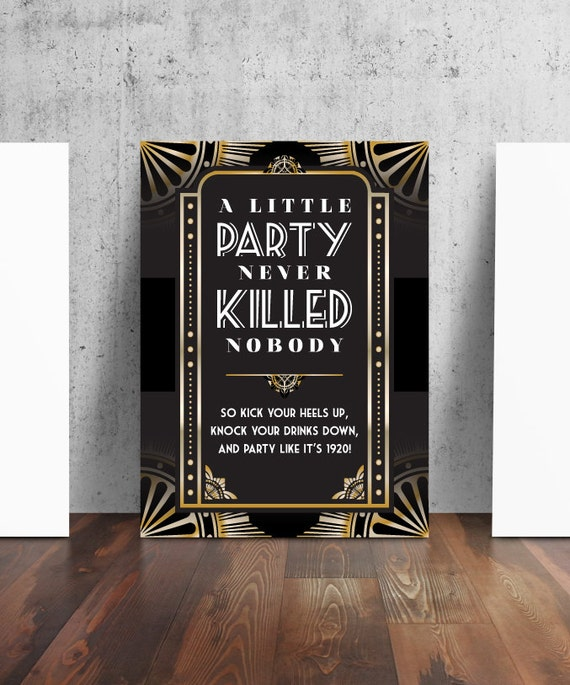 1920s prohibition style party sign
