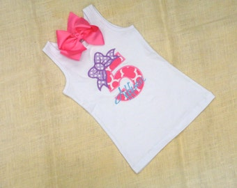 Birthday Bow Number Personalized Shirt 1st Birthday 2nd 3rd 4th 5th 6th 7th 8th 9th Girl Baby Tank Short Long Sleeve Matching Boutique Bow