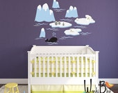 Polar bear nursery wall decals - Extra Large Childrens Mural Icebergs and arctic animals penguins owl whale