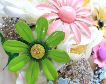 Pastel Brooch Bouquet Hand Made in USA Pink Blue Green Yellow Crystal Ivory Enamel Flowers Premade In Stock Ready To Ship Worldwide 1000671