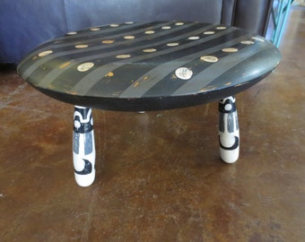 Upcycled Wood Foot Stool Hand Painted With Circles and Stripes in Black, White, and Grey