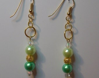 Green Faux Pearl Earrings with Gold Toned Accents