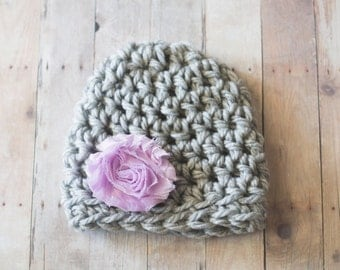 Newborn Girl Hat, Baby Girl Hat, Girl Crochet Hat, Newborn Photography Prop, Baby Crochet Hat, Newborn Hat, Baby Hat, Gray and Purple Hat