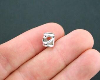10 Spacer Bead Antique Silver Tone 3D Open Design - P2015