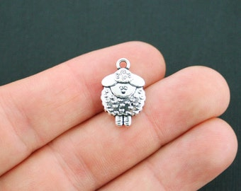 3 Sheep Charms Antique Silver Tone 2 Sided - SC3763