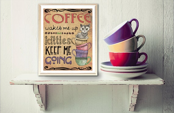 Cat art print cat lover gift cat lady gift kitchen wall Gifts for kitchen lovers
